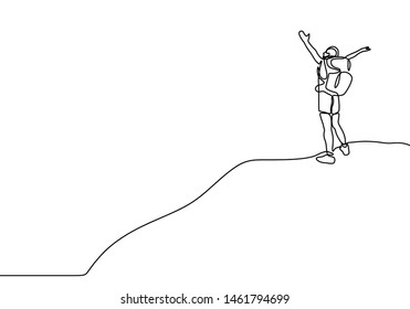 Continuous line drawing of winner man on mountain peak. Climber on mountain top silhouette. Victory symbol. Template for your design works. Vector illustration isolated on white background.