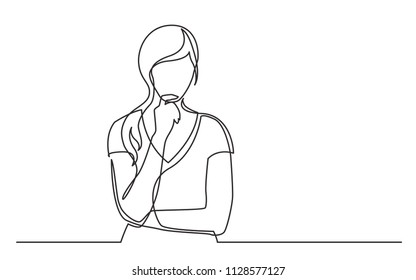 continuous line drawing of woman confused thinking