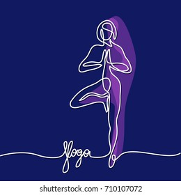 Continuous line drawing. Woman doing exercise in yoga pose. Vector Illustration dark colors