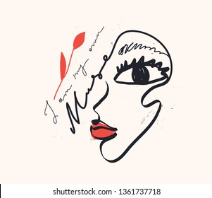 """Continuous line, drawing of woman face, fashion minimalist concept, vector illustration. """"I am my own muse"""" sign."""