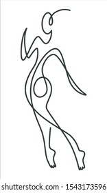 Continuous line drawing of woman figure silhouette, isolated icon vector. Linear human figure, swirls and curls ink drawing, Female silhouette in one line, dancing and movement, girl walking