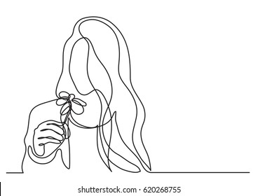 continuous line drawing of woman with flower