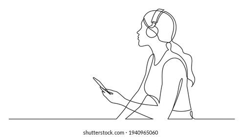 continuous line drawing of woman holding phone listening music in headphones