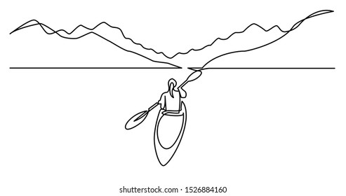 continuous line drawing of woman kayaking on beautiful lake waters