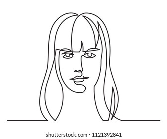 continuous line drawing of woman with long hair on white background