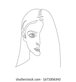 Continuous Line Drawing Woman Portrait. One Line Abstract Portrait. Minimalist Woman Portrait. Contour Face Poster Wall Art Design. Vector EPS 10.