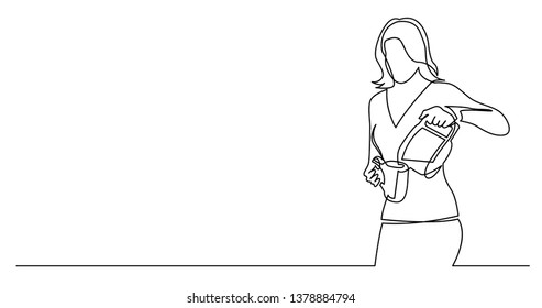 continuous line drawing of woman pouring coffee in cup