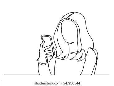 continuous line drawing of woman reading mobile phone