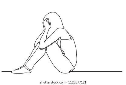 continuous line drawing of woman sitting on floor in despair