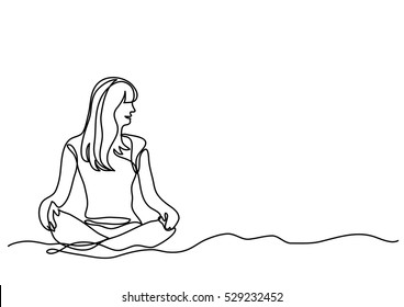 continuous line drawing of woman sitting on sand