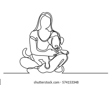 continuous line drawing of woman sitting with dog