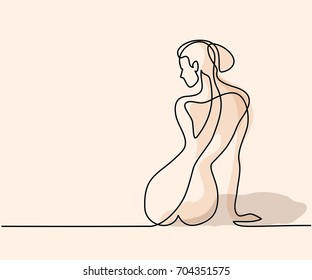 Continuous line drawing. Woman sitting back. Soft color vector illustration