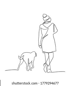 continuous line drawing of woman walking exercise with dog. One continuous single drawing line art doodle girl dog young female animal fashion friend. Isolated flat illustration hand draw contour.