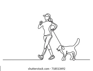 continuous line drawing of woman walking exercise with dog