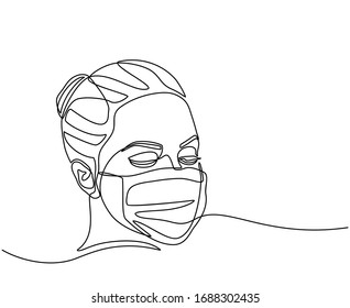 continuous line drawing of Woman wearing hygienic mask to prevent infection, airborne respiratory illness such as flu, corona virus. Protection against contagious disease. isolated on white background