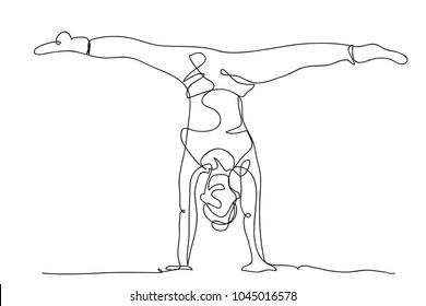 continuous line drawing of women fitness yoga concept vector health illustration