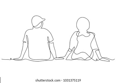 continuous line drawing of women and men Couple sitting together simplicity vector illustration