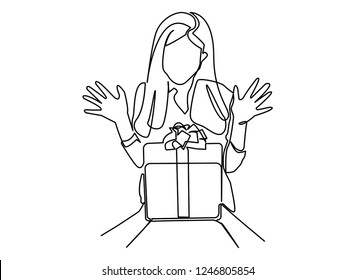 Continuous line, drawing of Women receive gifts Happy rejoice