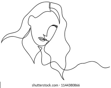 continuous line drawing of women vector illustration of beauty portrait.faces and hairstyle Fashion with the ladies beauty. Vector illustrations Hand drawn
