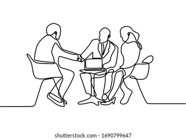 continuous line drawing of work team having meeting. Business meeting and discussion. Three persons talking each other. Interested in the business offered