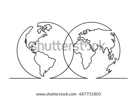 Continuous Line Drawing World Map Hemispheres Stock Vector Royalty