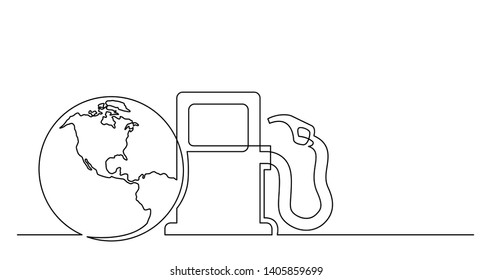 continuous line drawing of world planet with gas petrolium pump