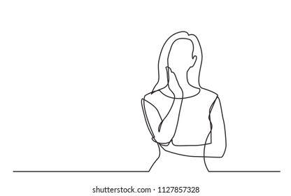 continuous line drawing of worried woman thinking