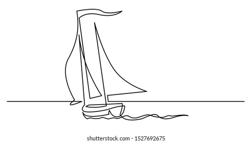 continuous line drawing of yacht sailing on windy weather across ocean