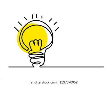 continuous line drawing of a yellow light bulb conceptual business ideas. linear style and Hand drawn Vector illustrations,