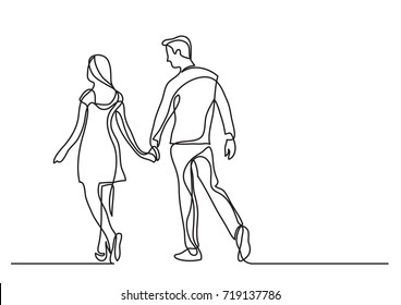 continuous line drawing of young couple walking together