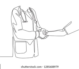 Continuous line drawing of young doctor shaking hand the patient in hospital - one line drawing vector