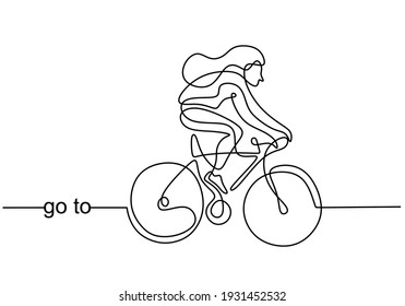 Continuous line drawing of young energetic sporty woman bicycle racer focus train her skill at cycling track. Athletic girl pedaling her bike so fast. Road cyclist concept. Vector illustration