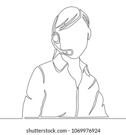 Continuous line drawing. A young female customer service operator Vector illustration