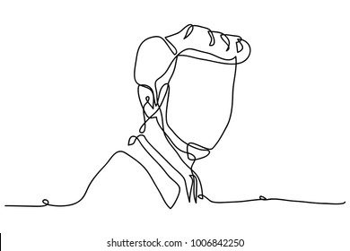 continuous line drawing of young man portrait