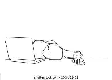 Continuous line drawing. A young man is tired, lies on a desk in front of a laptop. Manager. Businessman. Drawing from the hands of a black thin line on a white background.