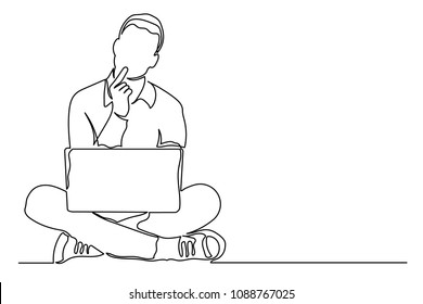 Continuous line drawing. Young man with laptop computer on his lap. Holds his hand by face. Concept of ideas of thinking of business person laptop. Black lines on white background drawing by hand.