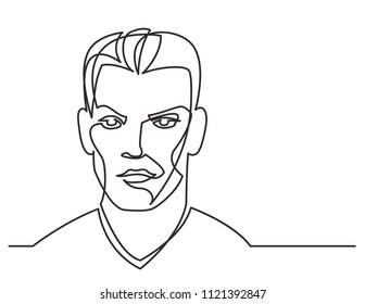 continuous line drawing of young man portrait on white background