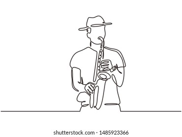 Continuous line drawing young man blowing saxophone trumpet brass instrument jazz classical music theme vector illustration