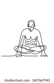 Continuous line drawing of young man fitness yoga concept vector health illustration. Yoga pose sitting cross leg and floated. Rest on his hands. Training to hand strength and abdominal muscle..