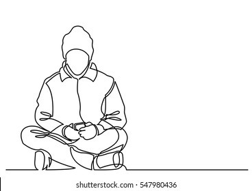 continuous line drawing of young man sitting with mobile phone
