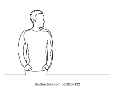 continuous line drawing of young man