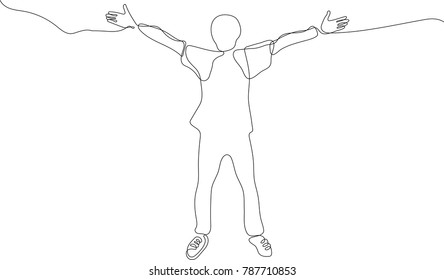 continuous line drawing of young man joyously throws his hands up in the air on white background