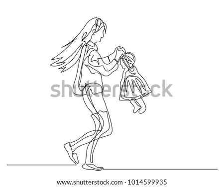 continuous line drawing young mother baby stock vector royalty free