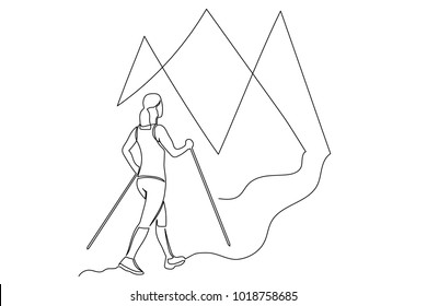 Continuous line drawing. A young woman in a sports suit and sneakers goes on foot to the mountains with walking sticks. Lines black on white background.