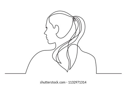 continuous line drawing of young woman with pony tail