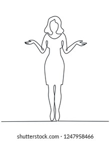 Continuous Line Drawing of Young woman spread her hand and shrugging shoulder. I do not know. Oops! Sorry! Asking question and doubt expression vector illustration.