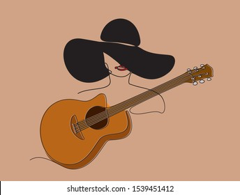 Continuous line drawing of Young woman playing guitar. Vector