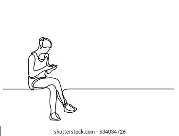 continuous line drawing of young woman sitting-and reading her cell phone
