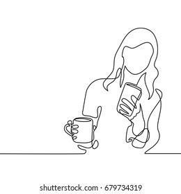 Continuous line drawing. Young woman looking smart phone and drinking coffee or tea. Vector illustration