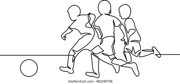 continuous line drawing of youth soccer players